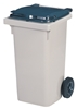 2 wheel waste container 90 liters gray
