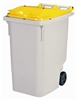 2 wheel waste container 340 liter yellow lid front socket