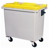 Roll container Rossignol 4 wheels 660 liters yellow front socket