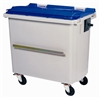 Roll container 4 wheels 660 liters blue lid ventral bar