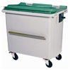 4 wheel roll container 660 liters green ventral bar cover