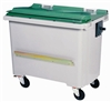 Waste container 770 liters 4 wheel green ventral bar