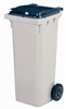 2 wheel waste container 120 liters gray front socket
