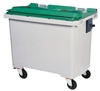 4 wheel waste container 660 liter green front socket