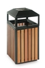 Outdoor trash timber and square steel 75 liters with lock