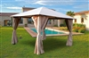 Garden arbor with 3x3 m taupe curtains Atlas