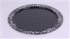 Disposable round plate in black prestige package 72