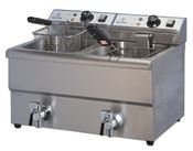 Electric fryer professional double sink with drain