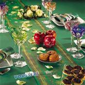 Paper tablecloth Noel Volga Linen Green Roll 1.20 x 25 m
