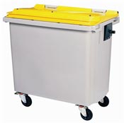 Container Rossignol 4 wheels 660 liters yellow front socket