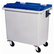 Roll container Rossignol 4 wheels 660 liters blue front socket