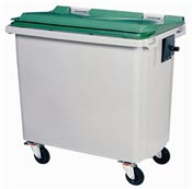 Waste container 4 wheels 660 liters green front stacker
