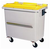 4 wheels rolling container lid 660 liters yellow bar ventral