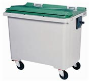 Waste container 770 liters 4 green wheels front stacker