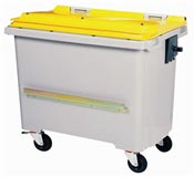 Waste container 770 liters 4 CV wheels yellow bar ventral
