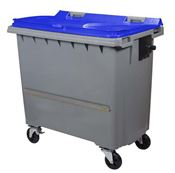 Waste container 770 liters 4 blue wheels CV ventral bar