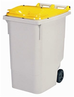 Acheter 2 wheel waste container 340 liter yellow lid front socket