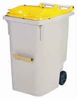 Acheter 2 wheels roll container lid 340 L yellow ventral bar
