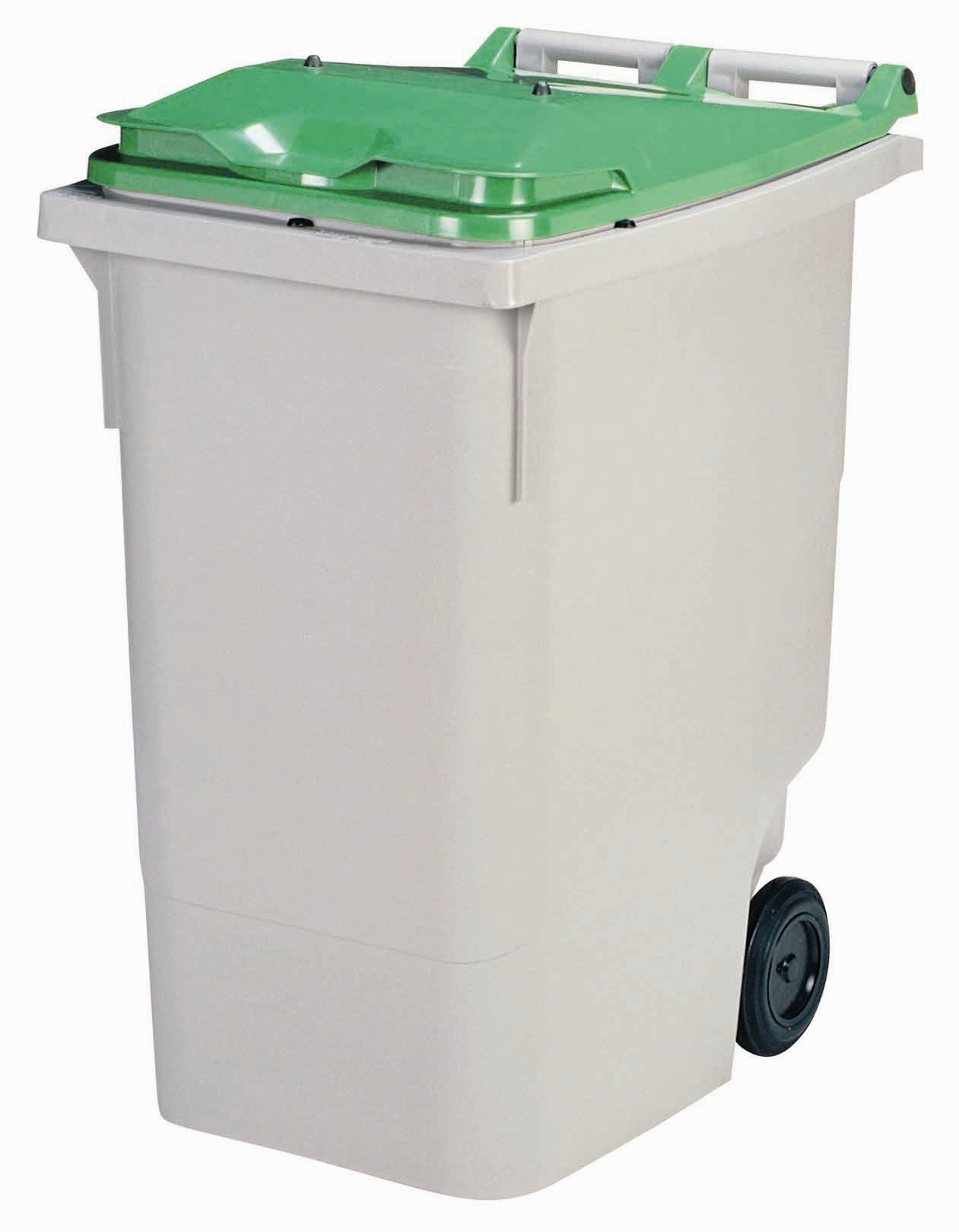 2 Wheel Waste Container 340 Liters Green Lid Front Stacker
