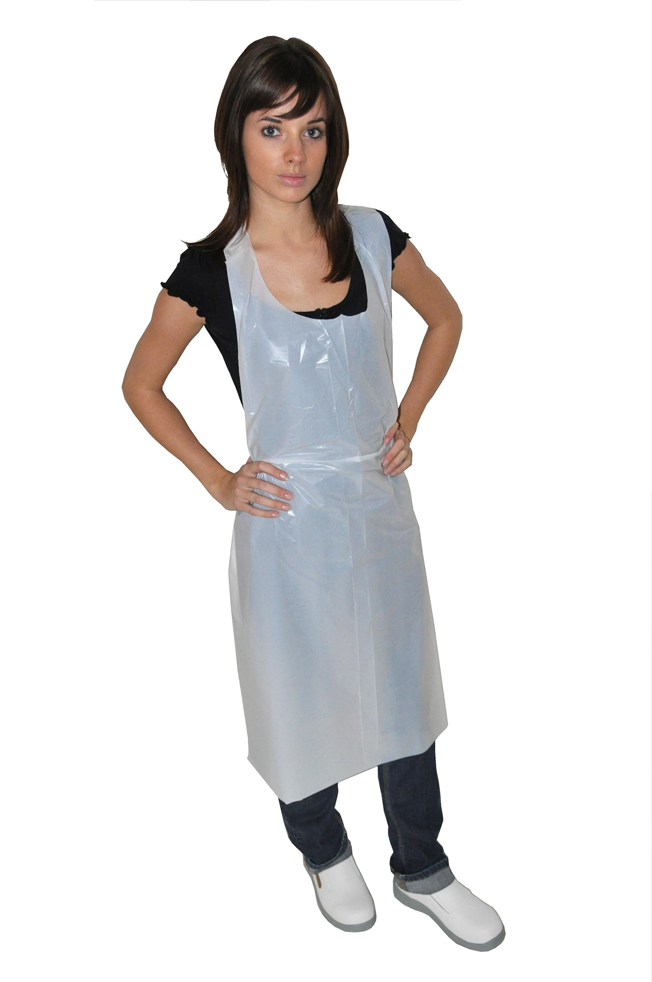 White disposable apron - White Disposable Apron 45