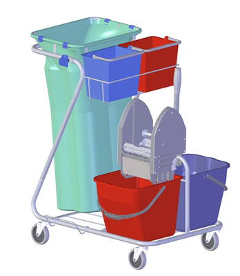 Household cleaning trolley Z Rilsan