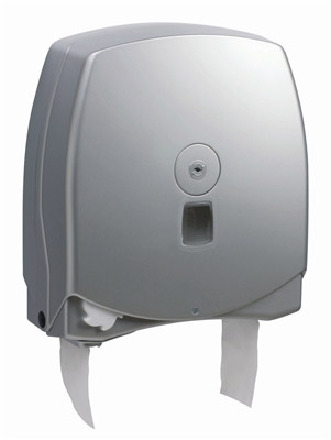 Gray jumbo automatic toilet paper dispenser