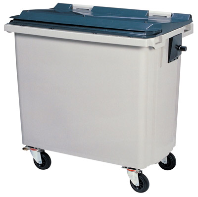Garbage container 4 wheels 660 liters CV gray front socket
