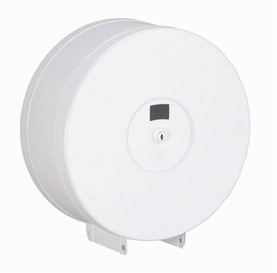 Jumbo toilet paper dispenser white steel lockable