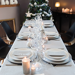 Christmas tablecloth silver